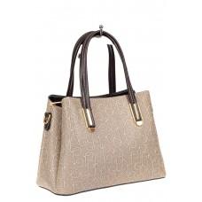 На фото 1 - Женская сумка трапеция из принтованного кожзама, цвет серый
