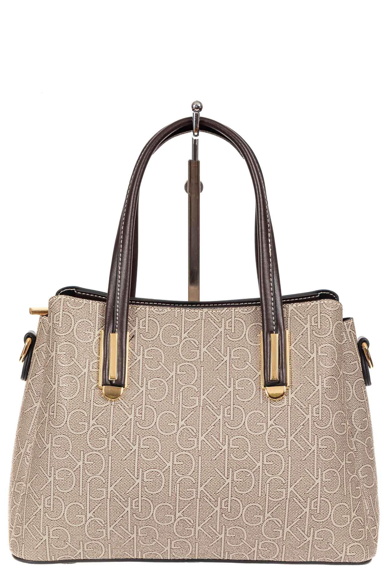 На фото 2 - Женская сумочка трапеция из принтованного кожзама, цвет серый