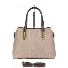 На фото 3 - Женская сумочка трапеция из принтованного кожзама, цвет серый