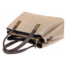 На фото 4 - Женская сумочка трапеция из принтованного кожзама, цвет серый