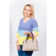 На фото 5 - Женская сумочка трапеция из принтованного кожзама, цвет серый