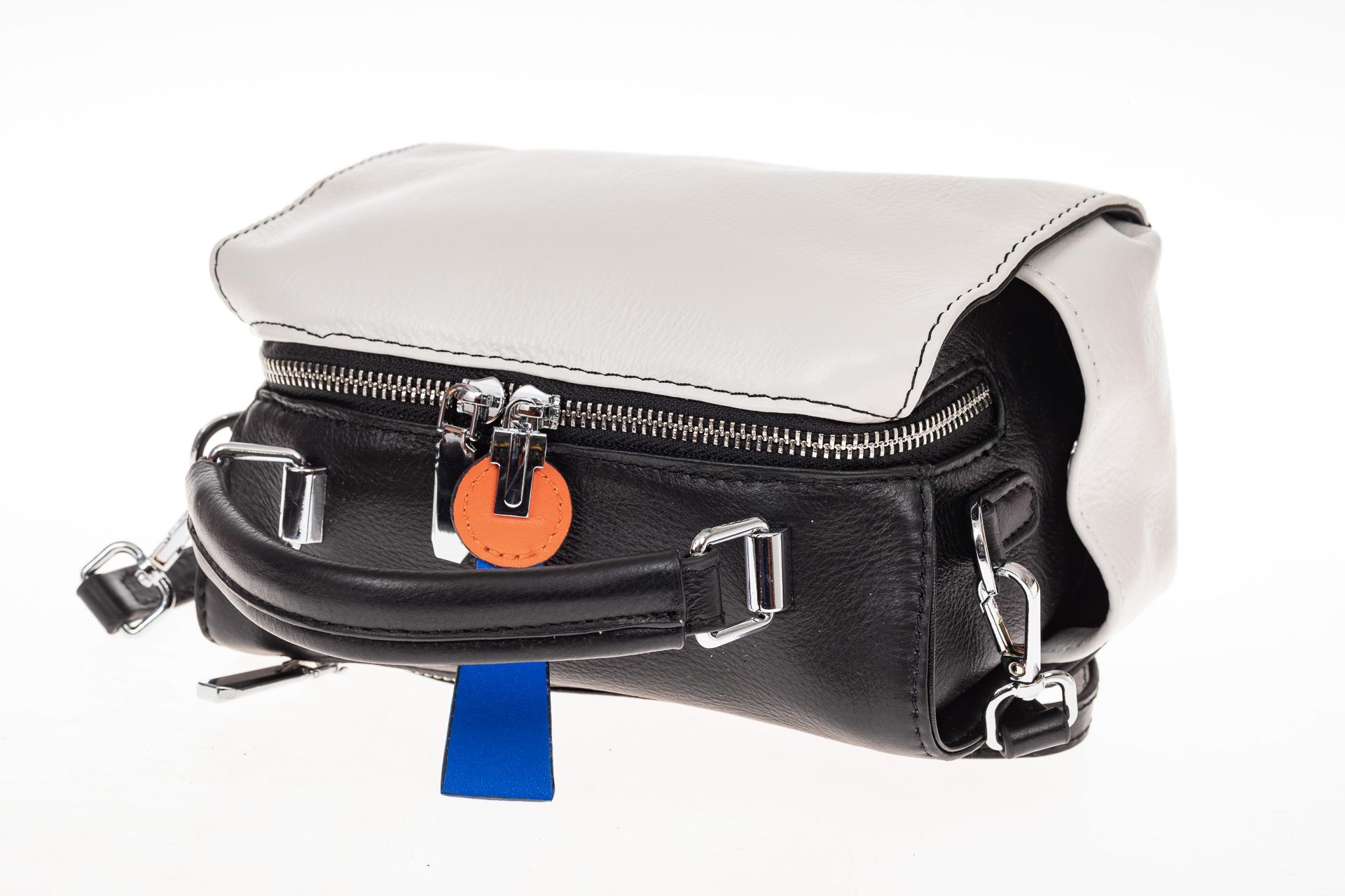 На фото 3 - Сумка коробочка из натуральной кожи, цвет черный с белым