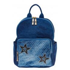 На фото 2 - Женский рюкзак из джинсы синего цвета 9995-35