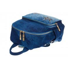 На фото 4 - Женский рюкзак из джинсы синего цвета 9995-35