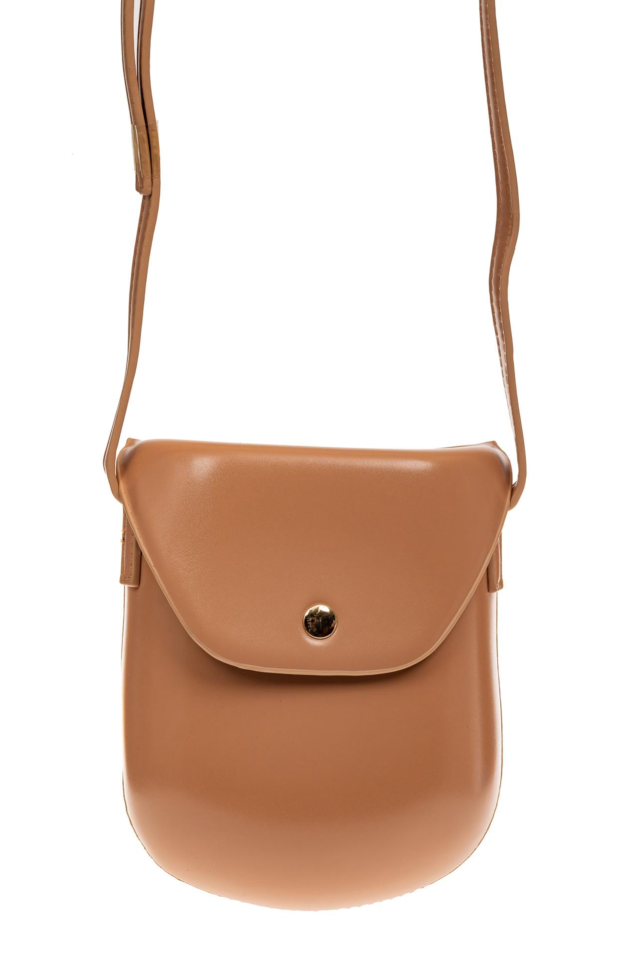 На фото 2 - Женская сумка-кобура из искусственной кожи, цвет пудра