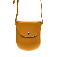 На фото 2 - Женская сумка-кобура из искусственной кожи, цвет горчичный