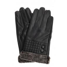 На фото 1 - Женские перчатки из искусственной кожи с мехом, цвет чёрный