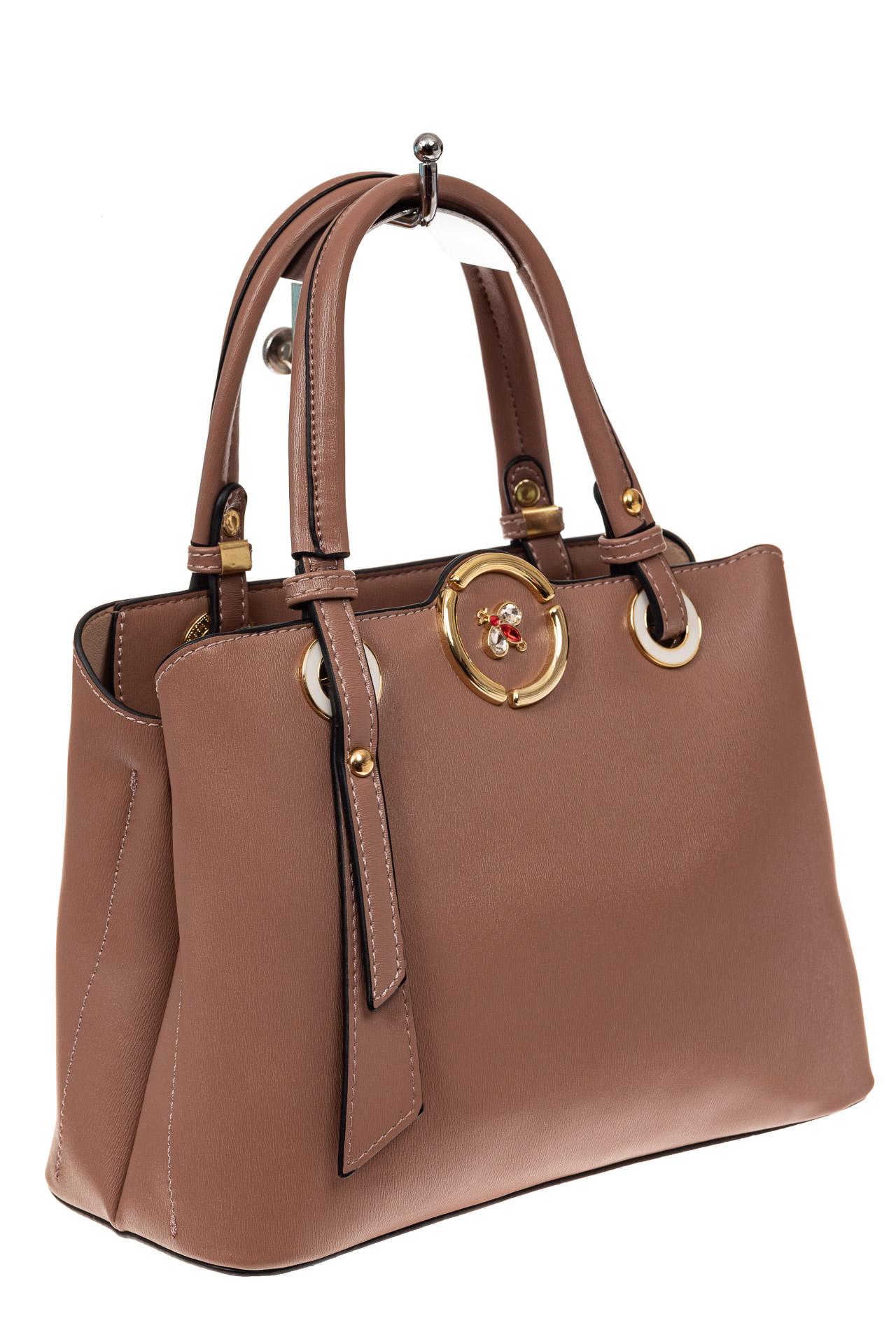 На фото 1 - Классическая женская сумка из искусственной кожи, цвет пудра