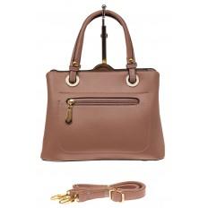 На фото 2 - Классическая женская сумка из искусственной кожи, цвет пудра