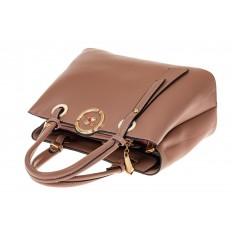 На фото 3 - Классическая женская сумка из искусственной кожи, цвет пудра