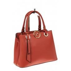 На фото 1 - Классическая женская сумка из искусственной кожи, цвет кирпичный