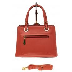 На фото 2 - Классическая женская сумка из искусственной кожи, цвет кирпичный