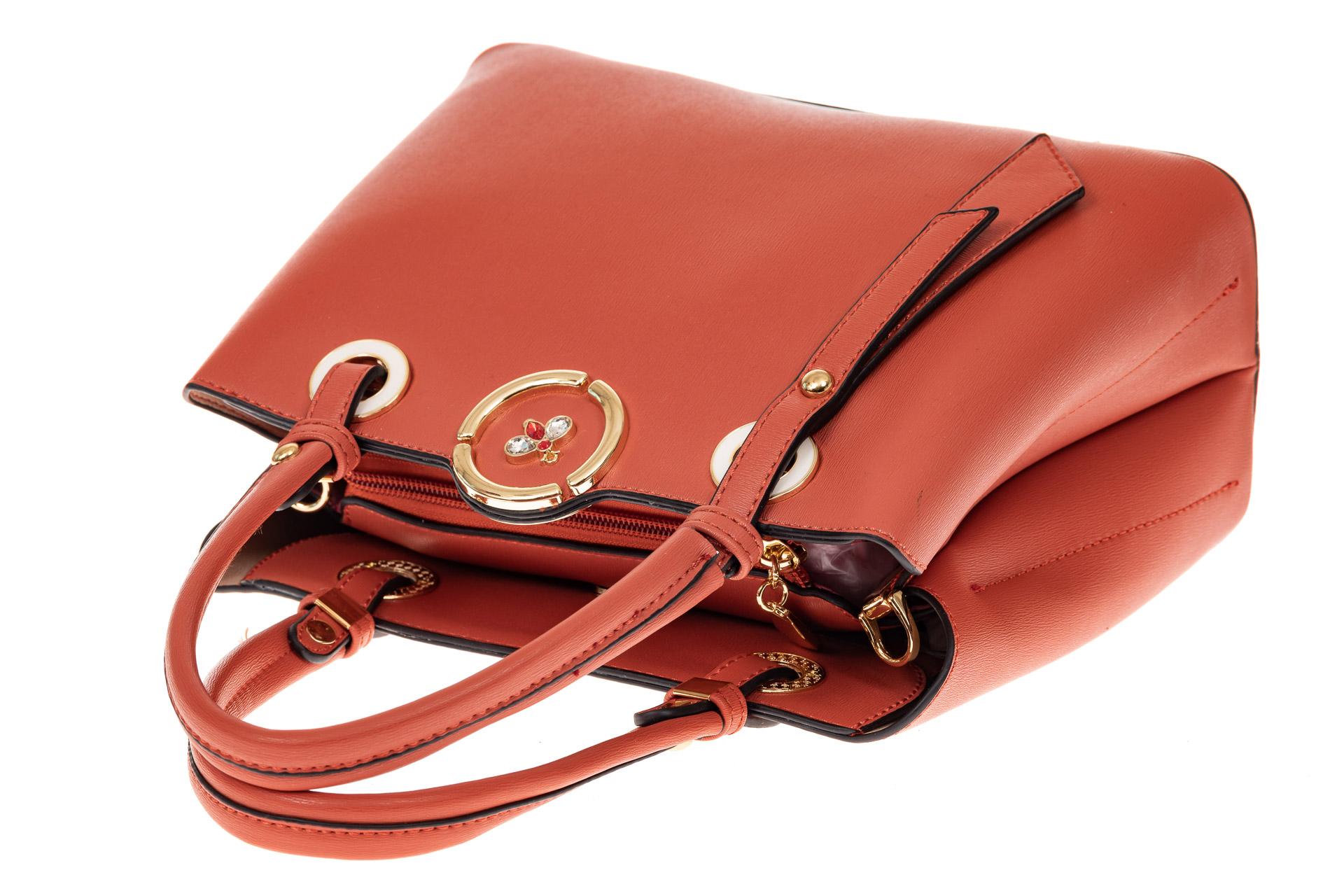 На фото 3 - Классическая женская сумка из искусственной кожи, цвет кирпичный