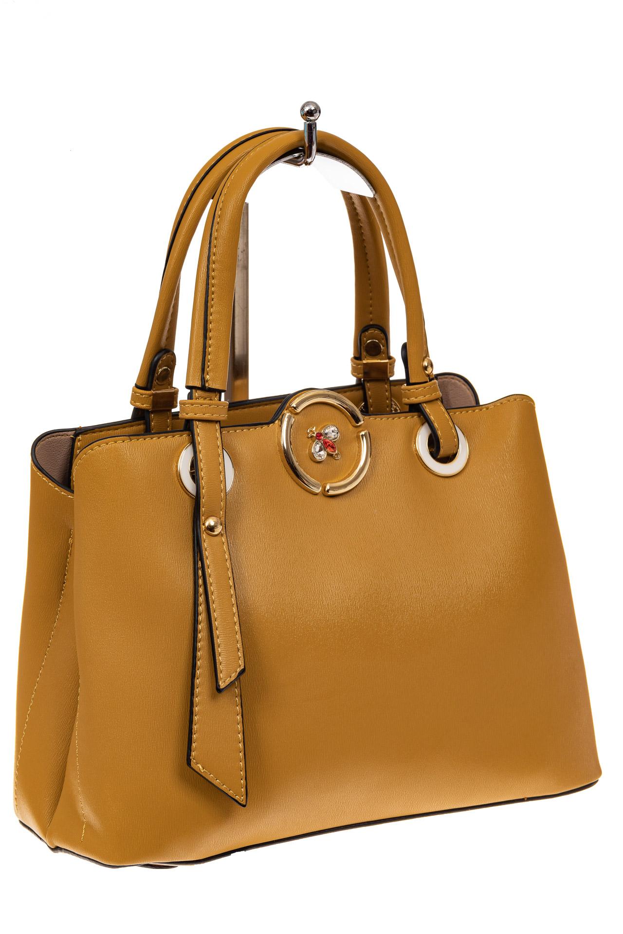 На фото 1 - Классическая женская сумка из искусственной кожи, цвет горчичный