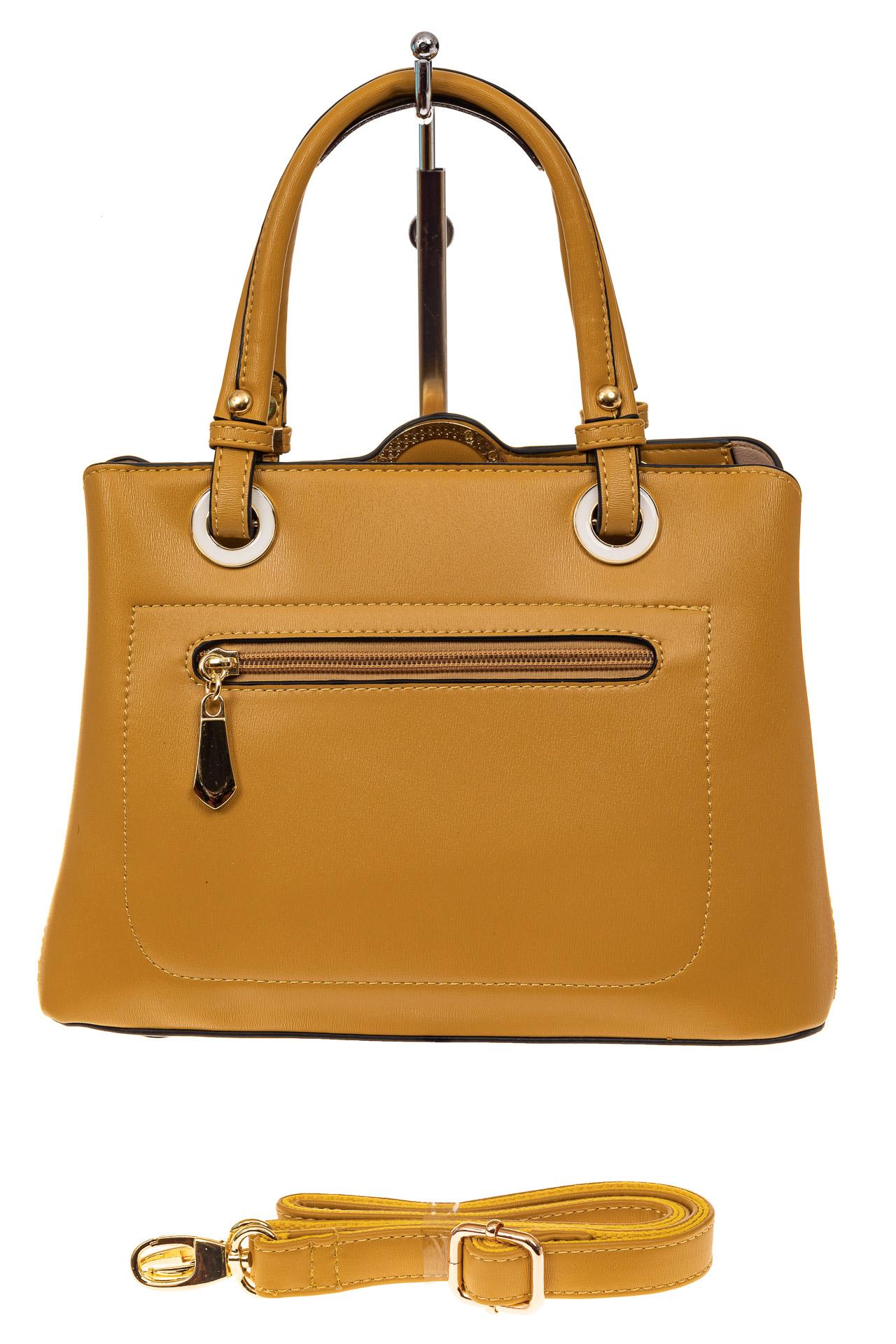 На фото 2 - Классическая женская сумка из искусственной кожи, цвет горчичный