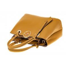 На фото 3 - Классическая женская сумка из искусственной кожи, цвет горчичный