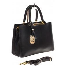 На фото 1 - Строгая женская сумка из искусственной кожи, цвет черный