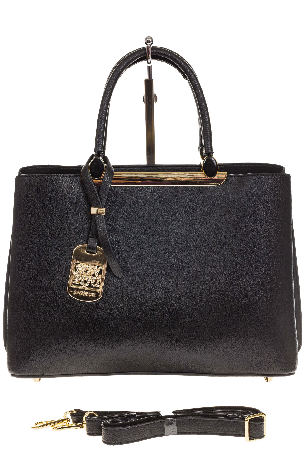 На фото 2 - Строгая женская сумка из искусственной кожи, цвет черный