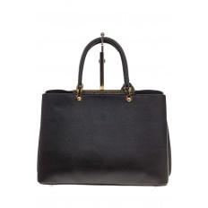 На фото 3 - Строгая женская сумка из искусственной кожи, цвет черный
