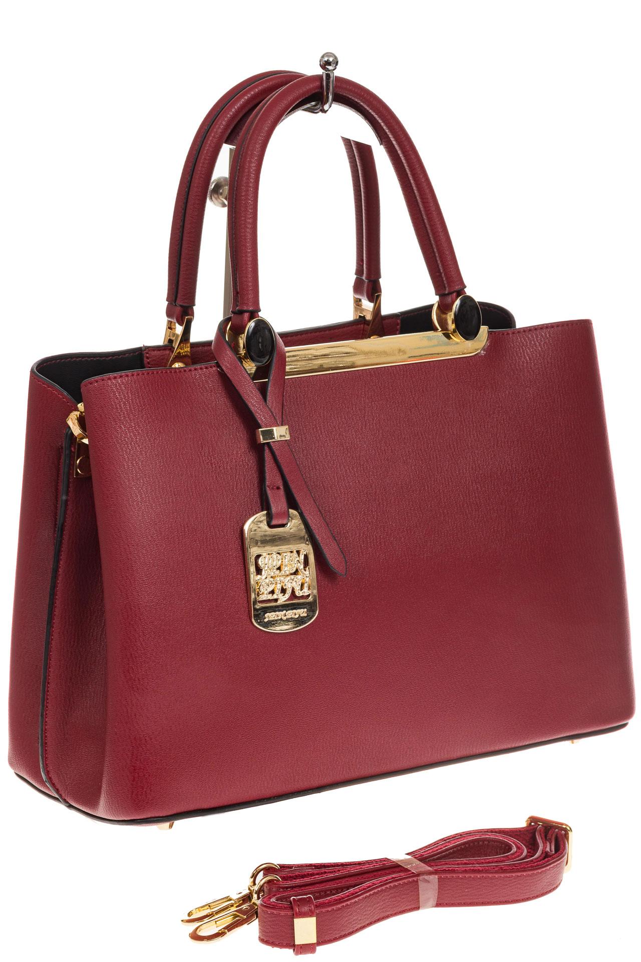 На фото 1 - Строгая женская сумка из искусственной кожи, цвет красный