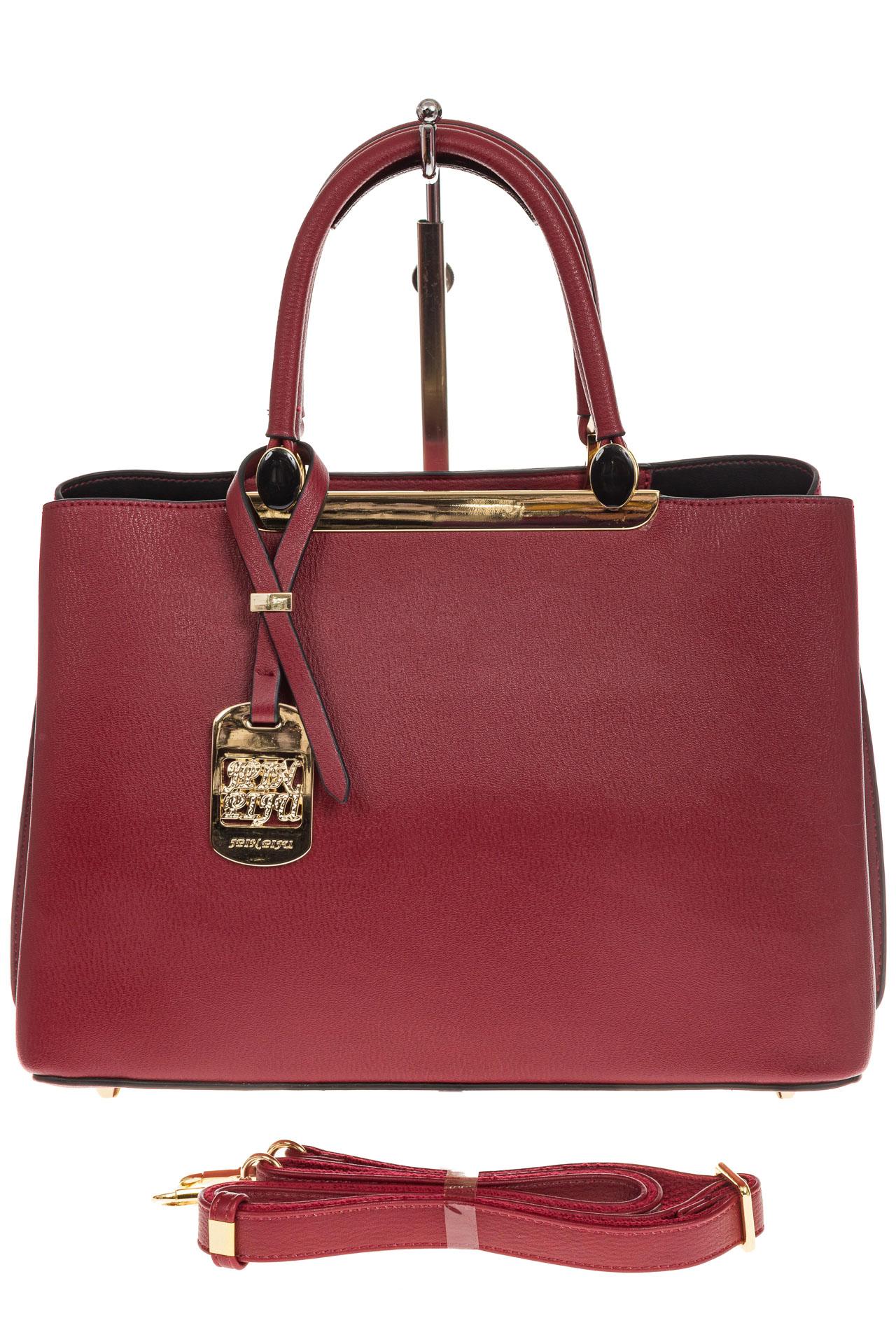 На фото 2 - Строгая женская сумка из искусственной кожи, цвет красный