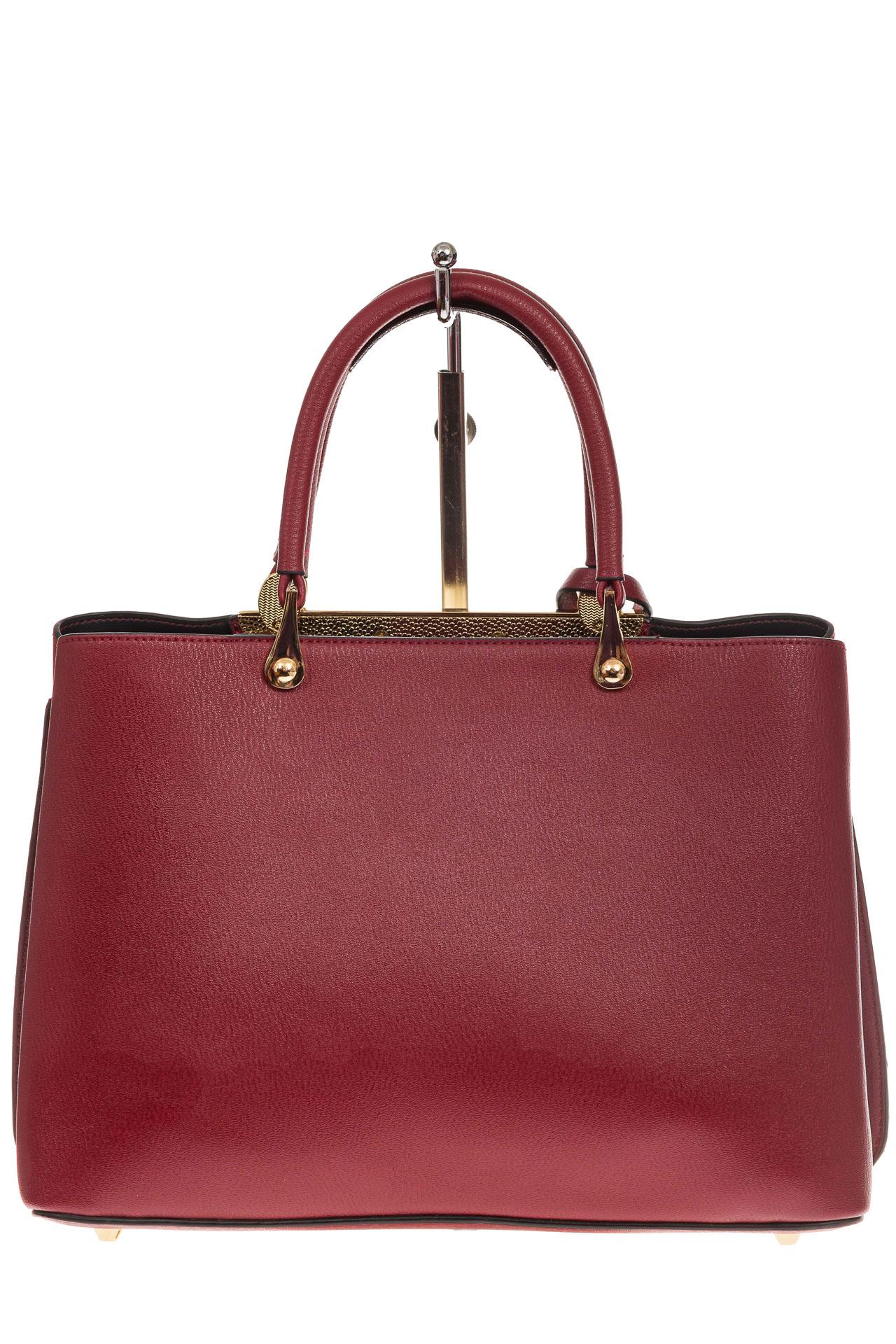 На фото 3 - Строгая женская сумка из искусственной кожи, цвет красный