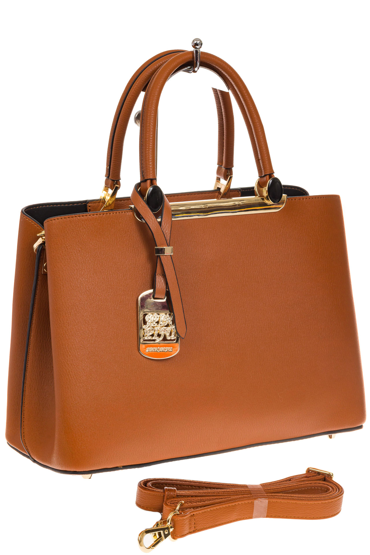 На фото 1 - Строгая женская сумка из искусственной кожи, цвет рыжий