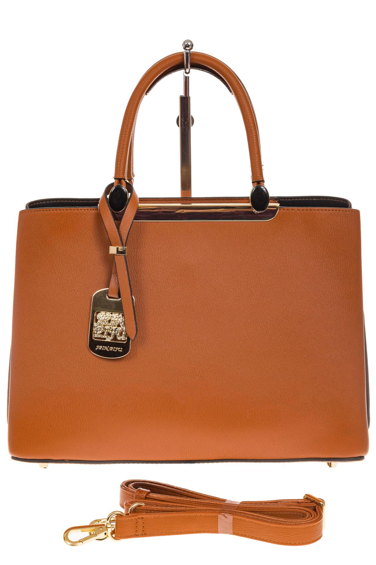 На фото 2 - Строгая женская сумка из искусственной кожи, цвет рыжий