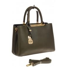 На фото 1 - Строгая женская сумка из искусственной кожи, цвет зеленый