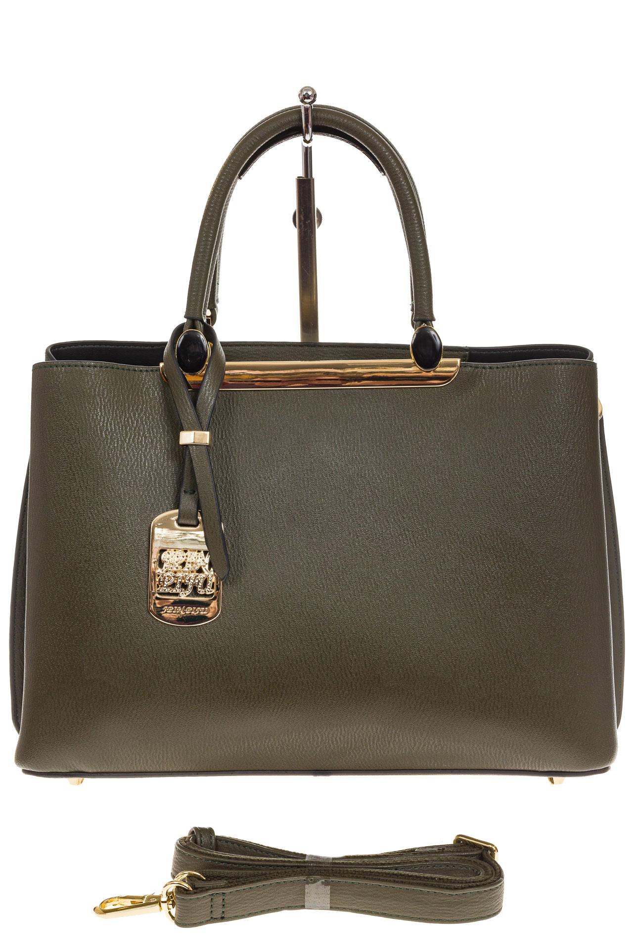 На фото 2 - Строгая женская сумка из искусственной кожи, цвет зеленый
