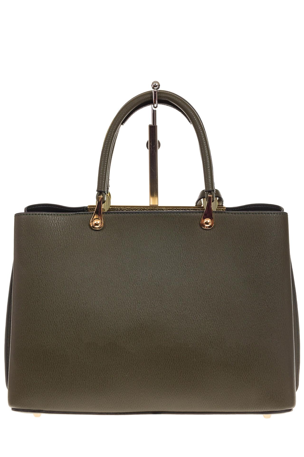 На фото 3 - Строгая женская сумка из искусственной кожи, цвет зеленый