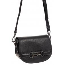 На фото 1 - Маленькая сумка-почтальонка из натуральной кожи, цвет черный
