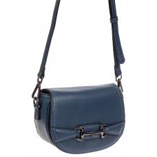 На фото 1 - Маленькая сумка-почтальонка из натуральной кожи, цвет синий