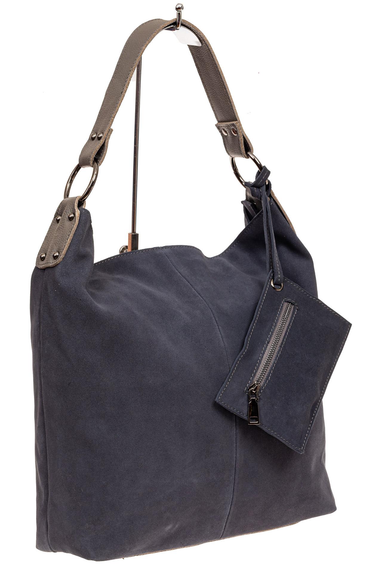 На фото 1 - Большая сумка хобо из натуральной замши, цвет голубой