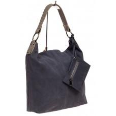 На фото 1 - Большая сумка хобо из натуральной замши, цв...