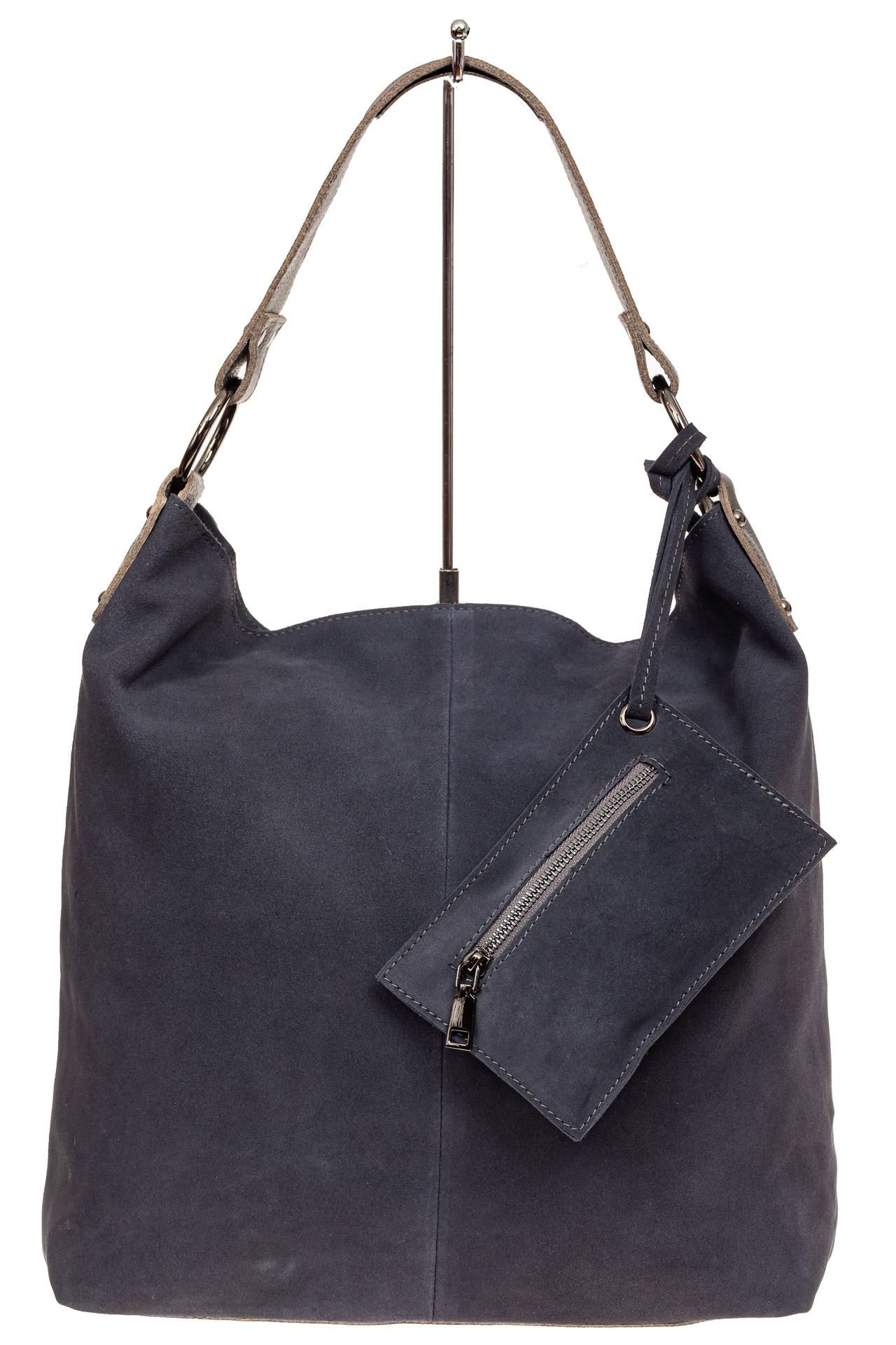На фото 2 - Большая сумка хобо из натуральной замши, цвет голубой