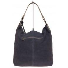На фото 3 - Большая сумка хобо из натуральной замши, цвет голубой