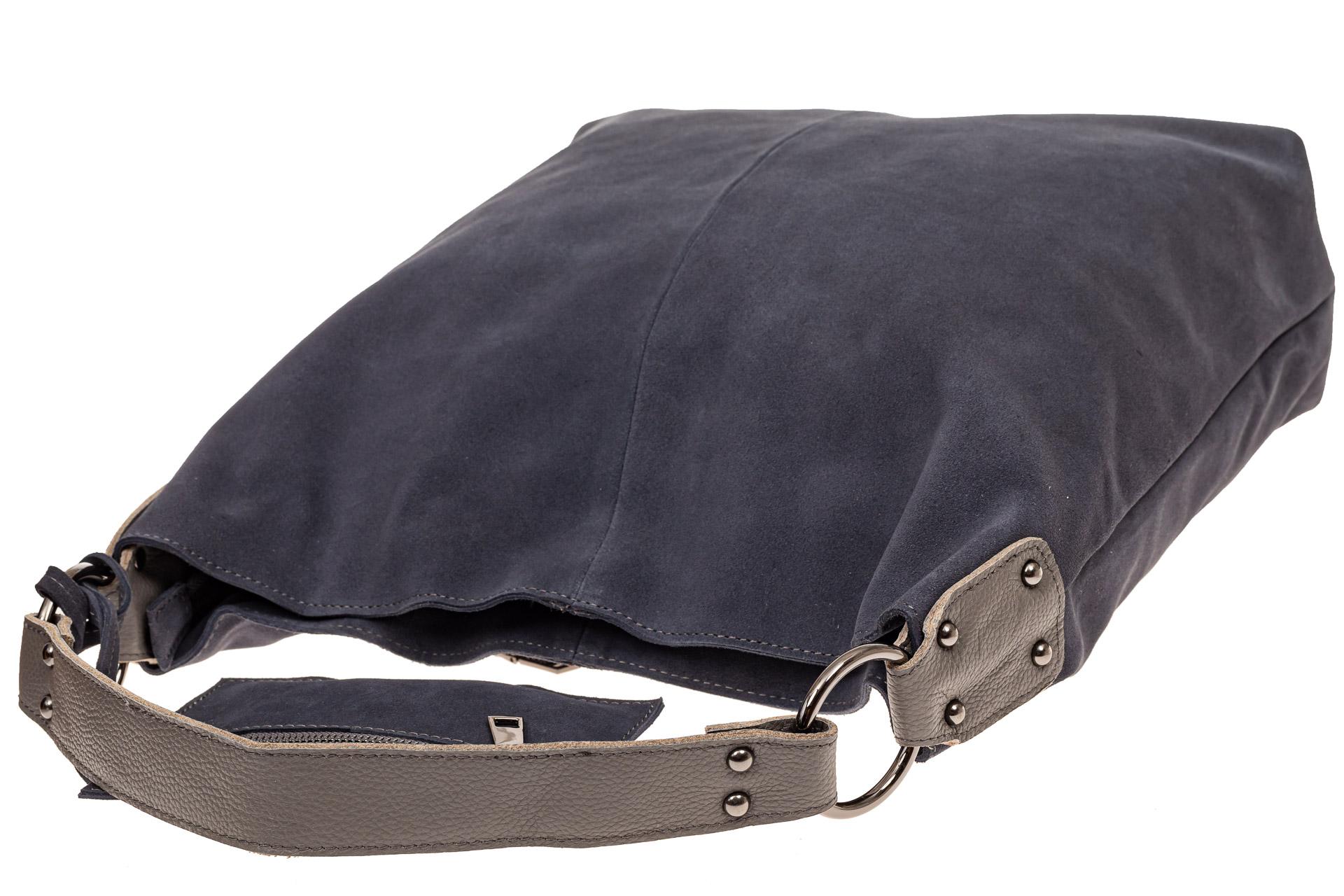 На фото 4 - Большая сумка хобо из натуральной замши, цвет голубой