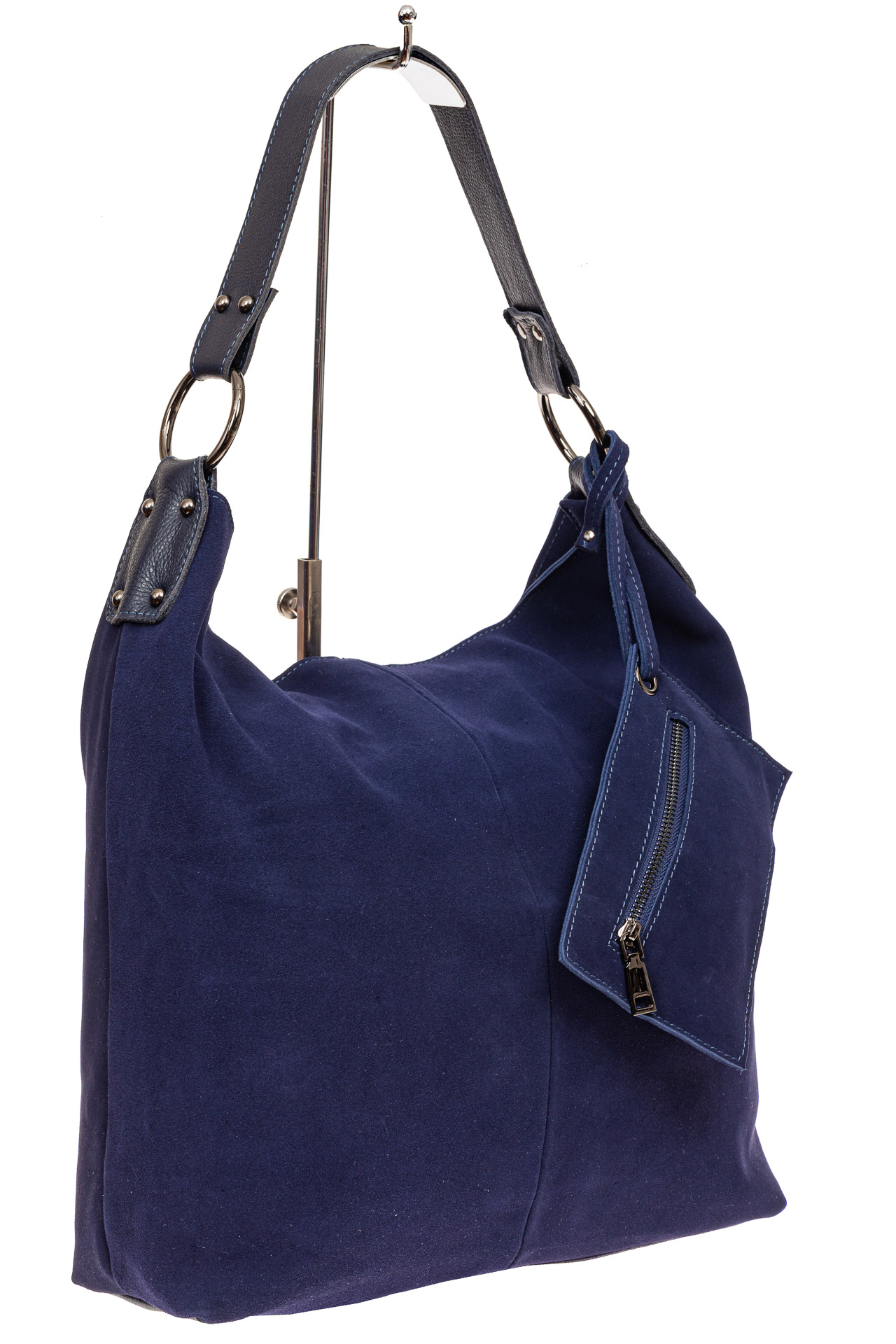 Большая сумка хобо из натуральной замши, цвет синийA0090ZN8/2