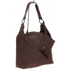 На фото 1 - Большая сумка хобо из натуральной замши, цвет коричневый 111