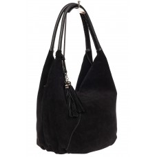 На фото 1 - Замшевая сумка хобо, цвет черный