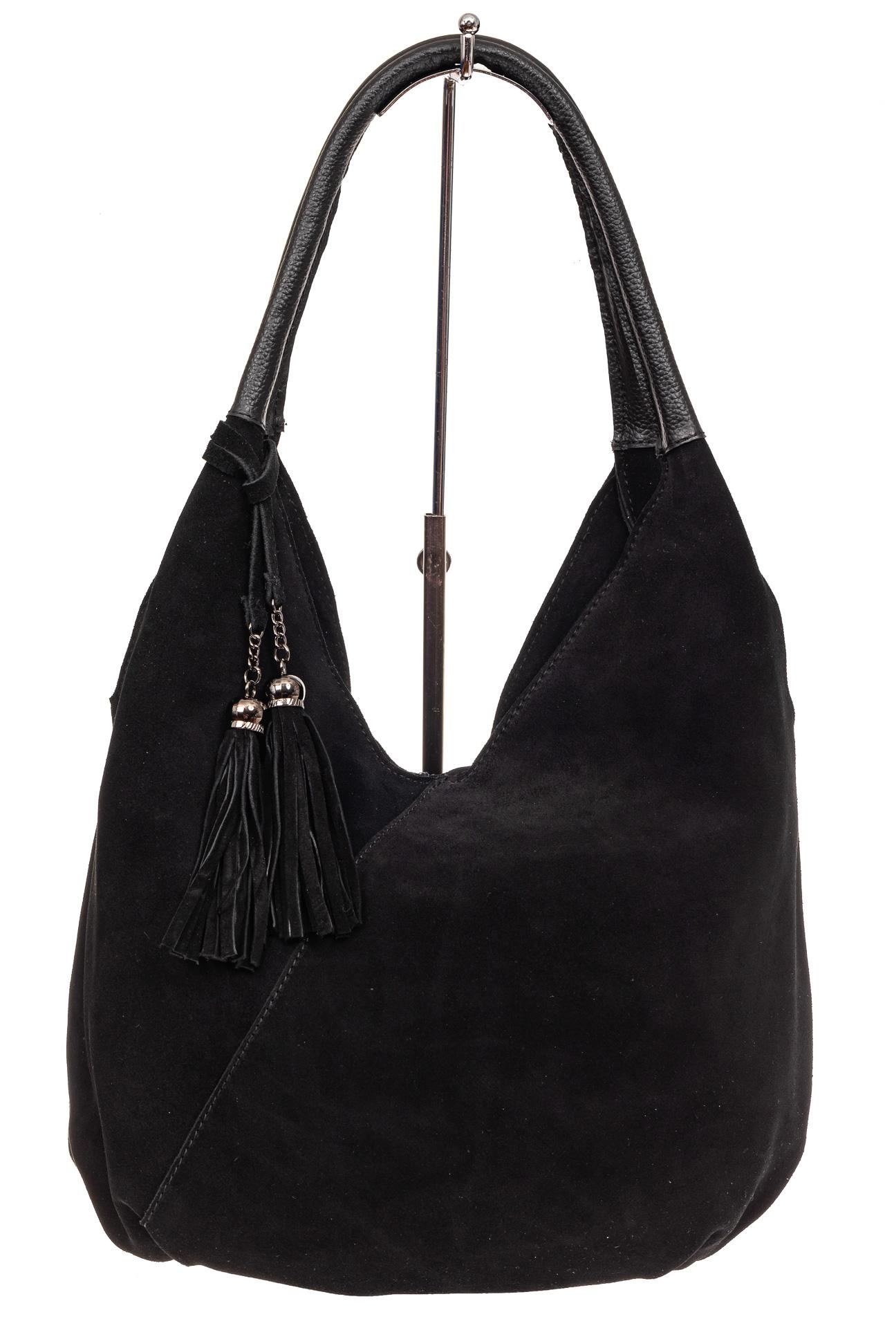 На фото 2 - Замшевая сумка хобо, цвет черный