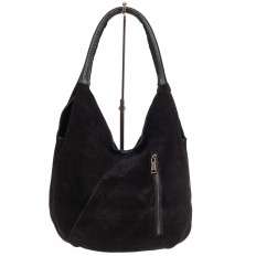 На фото 3 - Замшевая сумка хобо, цвет черный