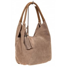 На фото 1 - Замшевая сумка хобо, цвет бежевый