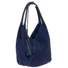 На фото 1 - Замшевая сумка хобо, цвет синий
