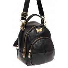 На фото 1 - Женский рюкхак трансформер из натуральной кожи, цвет черный