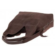 На фото 4 - Сумка хобо из мягкой натуральной замши, цвет коричневый