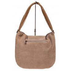 На фото 3 - Замшевая сумка с гортом, цвет бежевый