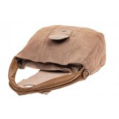 На фото 4 - Замшевая сумка с гортом, цвет бежевый