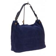 На фото 1 - Большая сумка из натуральной замши, цвет си...